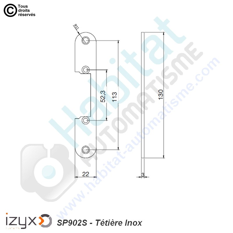 Têtière inox universelle IZYX SP902S
