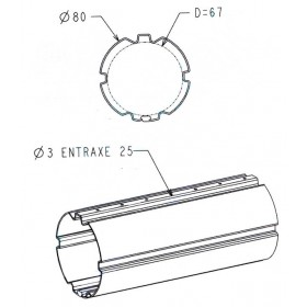ZF80 3m Tube enroulement volet roulant